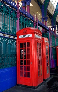 Red London Telephone Boxes  Smithfield Market London