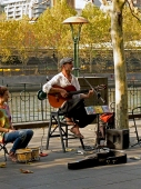 French Busker on the Banks of theyyarra River